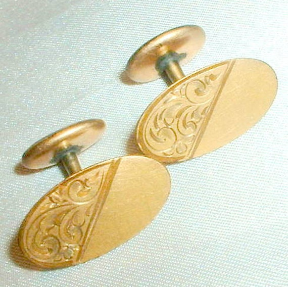 Antique Victorian Engraved Cuff Links