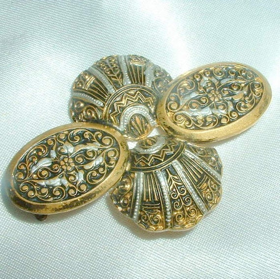 Vintage Spanish Damascene Shell Brooch