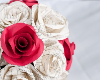 Wedding Book Page Paper Rose Bouquet