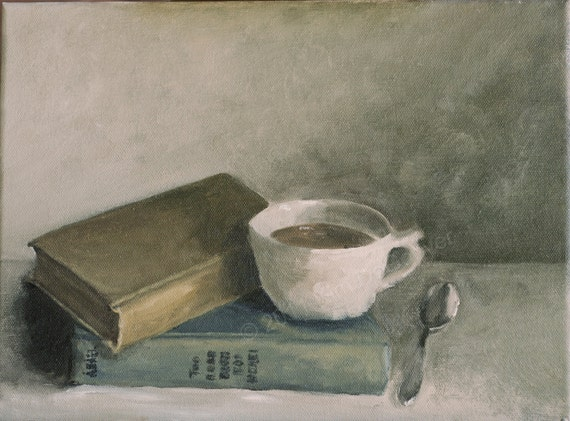 Coffee Break Oil Painting On Canvas Soft Worn Antique Books