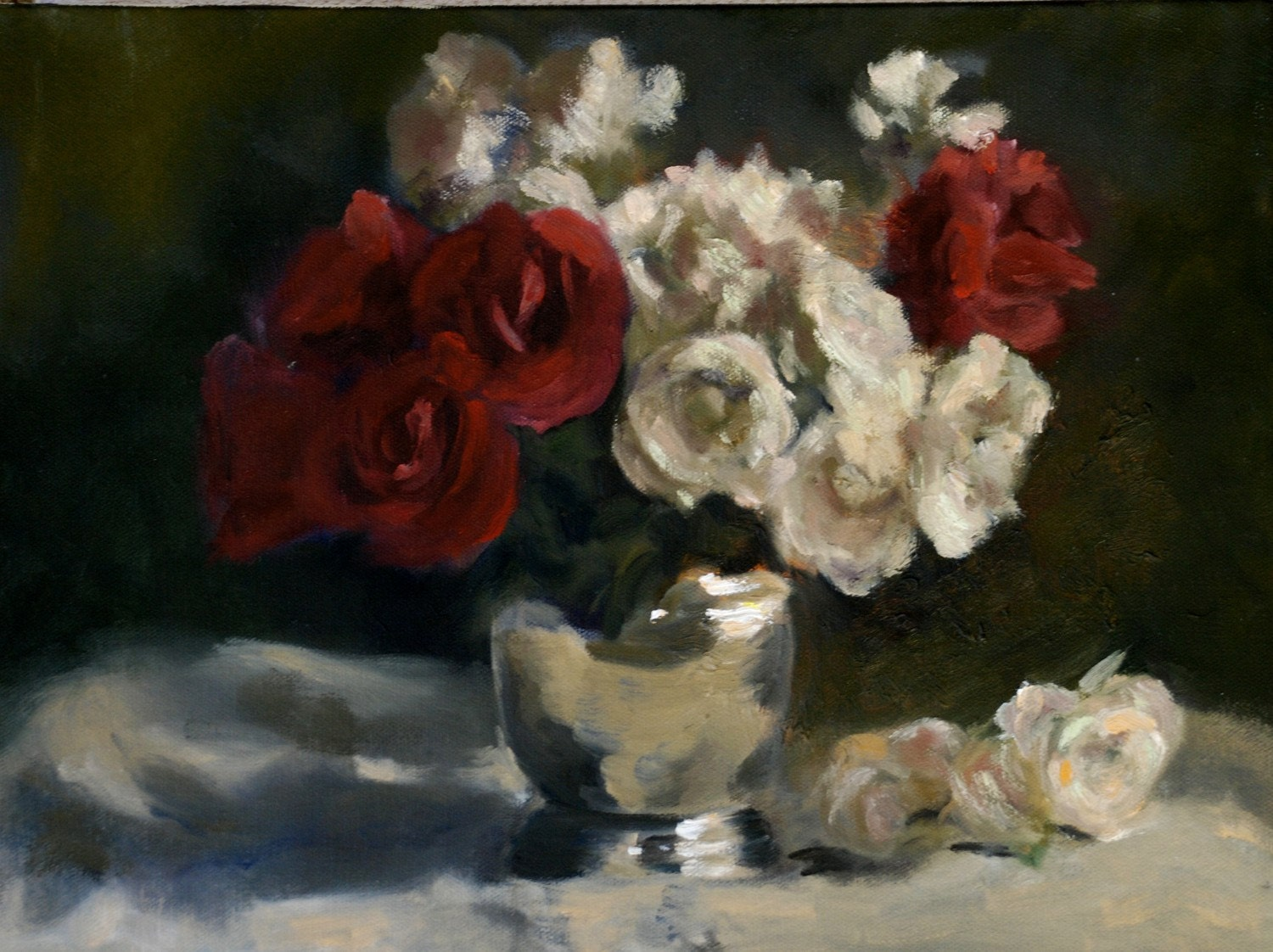 Peaceful Bedrooms Hung With Rosies Paintings : Peaceful Bedrooms Hung With Rosies Paintings : Roses with Silver Vase ...