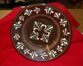 Handmade Decorated Redware Pottery Plate
