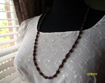 Lovely, long garnet neckalce