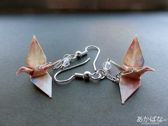 Items similar to Origami Tsuru Crane Earrings on Etsy - photo#6