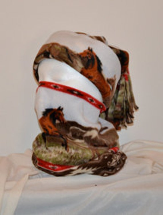Hand Made Winter Fleece Tassled Hat and Neck Warmer Set - Galloping Horses White Background