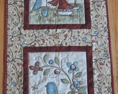 BUTTONS, BIRDS and OWLS Primitive/Rustic/Folk Art Quilted Wall Hanging