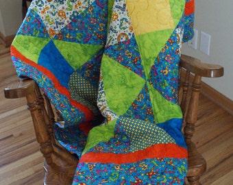 Geometric Bright Colors Bedding Lap Quilt Blanket