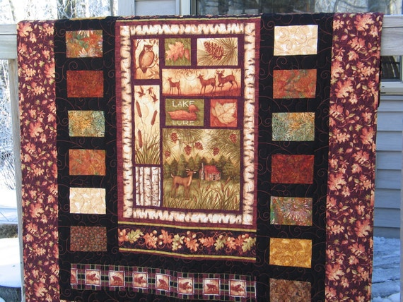 """RESERVED for LGBASKETCASE---Rustic Lake Cabin / Cottage 52"""" x 66"""" Lap Quilt"""