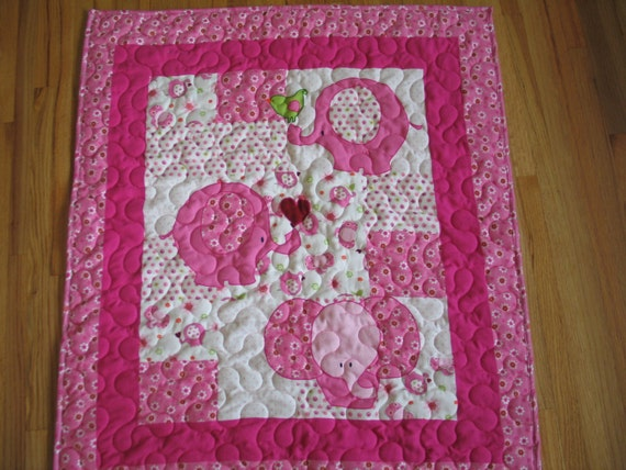 PINK ELEPHANT Flannel and Cuddle Soft Baby Quilt Blanket
