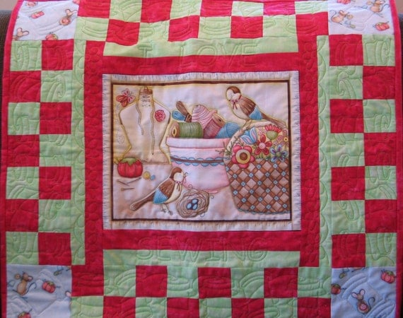 ON SALE - Sewing Basket and Birds Quilted Table Topper