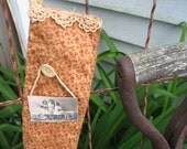 Primitive grubby country burgandy with small flowers and old lace trim stocking ornie handmade tag with childen and sheep photo
