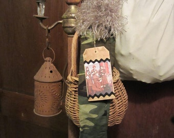 STOCKING Primitive Green Camo World War Two Wacs Dogs Grubby Tag Faux Fur Trim Cuff