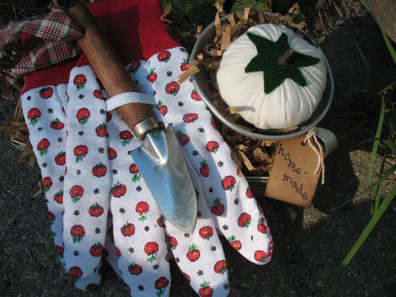 Handmade Tomato Pincushion Vintage Funnel Garden Gloves Shovel and Berry Basket Collection-TREASURY ITEM
