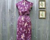 Vintage 70's PLUM PUDDING Floral Dress