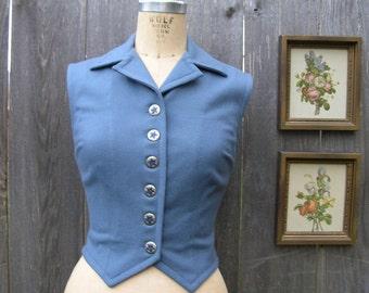 50's Era Style STAR, MOON, SUN Blue Wool Vest