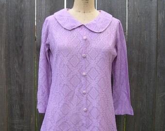 Vintage 60s SWINGING SET Lacy Lavender Blouse and Pants