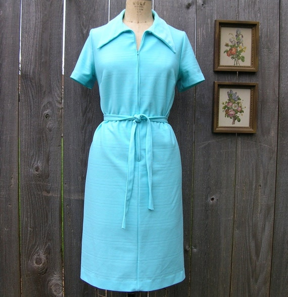 Vintage 70's ZIP AND TIE Turquoise Knit Dress