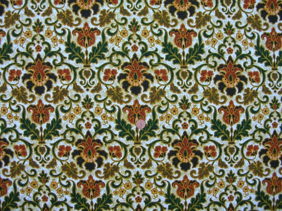 Vintage 70's FOLIAGE Screen Print HOME FABRIC  //  6 yards 7 1/4 ins. L  X  45 ins. W