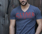 SALE Mens tshirt: gray vneck with rock climbing inspired print by We Are All Smith