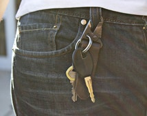 Leather keychain with belt loop carabiner style hook by UNIONS OF SMITH. Awesome gift idea for Valentine's Day!