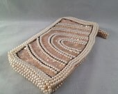 Vintage Off White and Pink Beaded Pearl Sequin Clutch