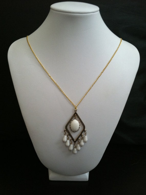 Vintage White Beaded Chandelier Necklace