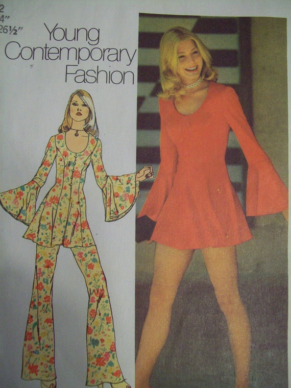 Sewing Pattern Vintage 1970s Flared Sleeve Mini By