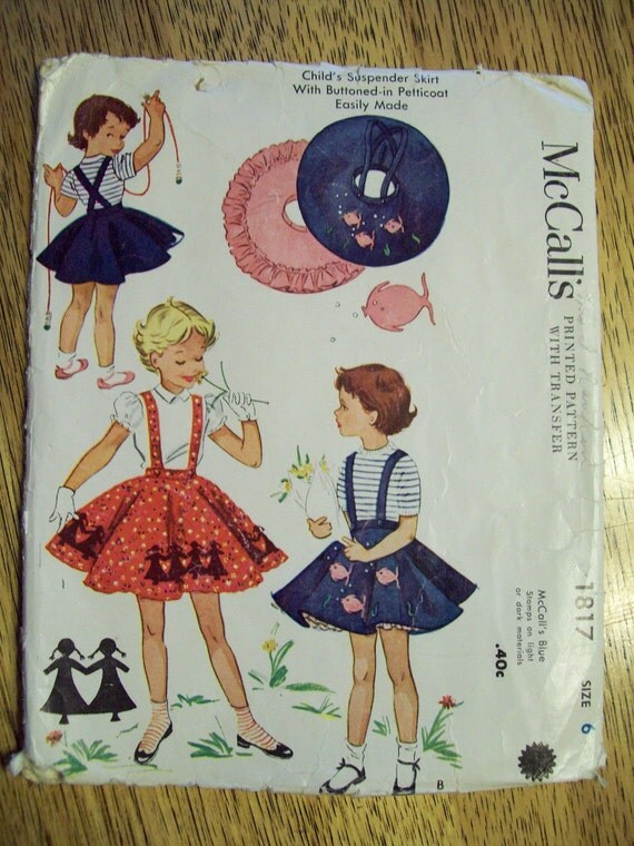 VINTAGE Sewing Pattern - 1950s Adorable Suspender Poodle Skirt with Petticoat - Size 6 - McCalls 1817