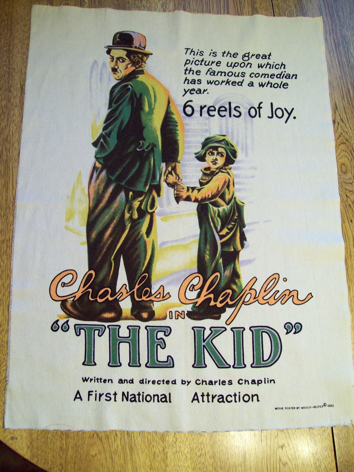 Fabric CHARLIE CHAPLIN Movie Poster from The Kid Retro 1980s