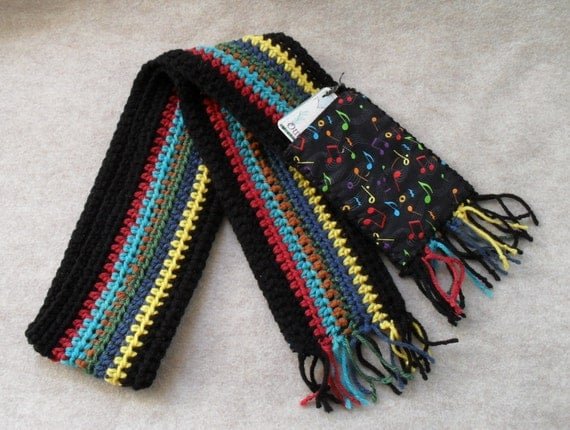 Crochet Music Pocket Scarves:  Colorful Striped Music Notes OR Brown with Instruments