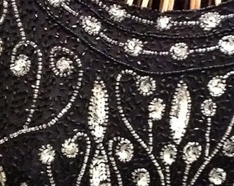 Beautifully adorned Black and White beaded  sequin dress