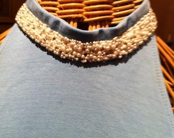 Pastel  Blue Halter Maxi Dress with beautiful pear collar.