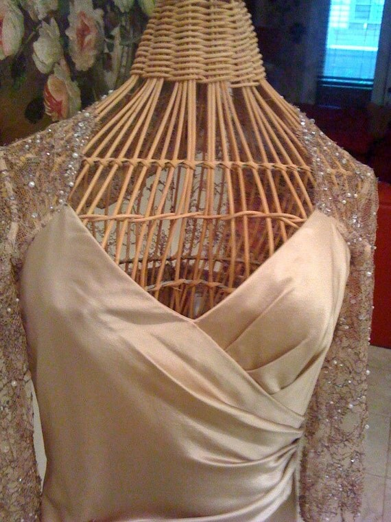 1980's  CHAMPAGNE Silk dress with beaded laced shoulders, back and sleeves