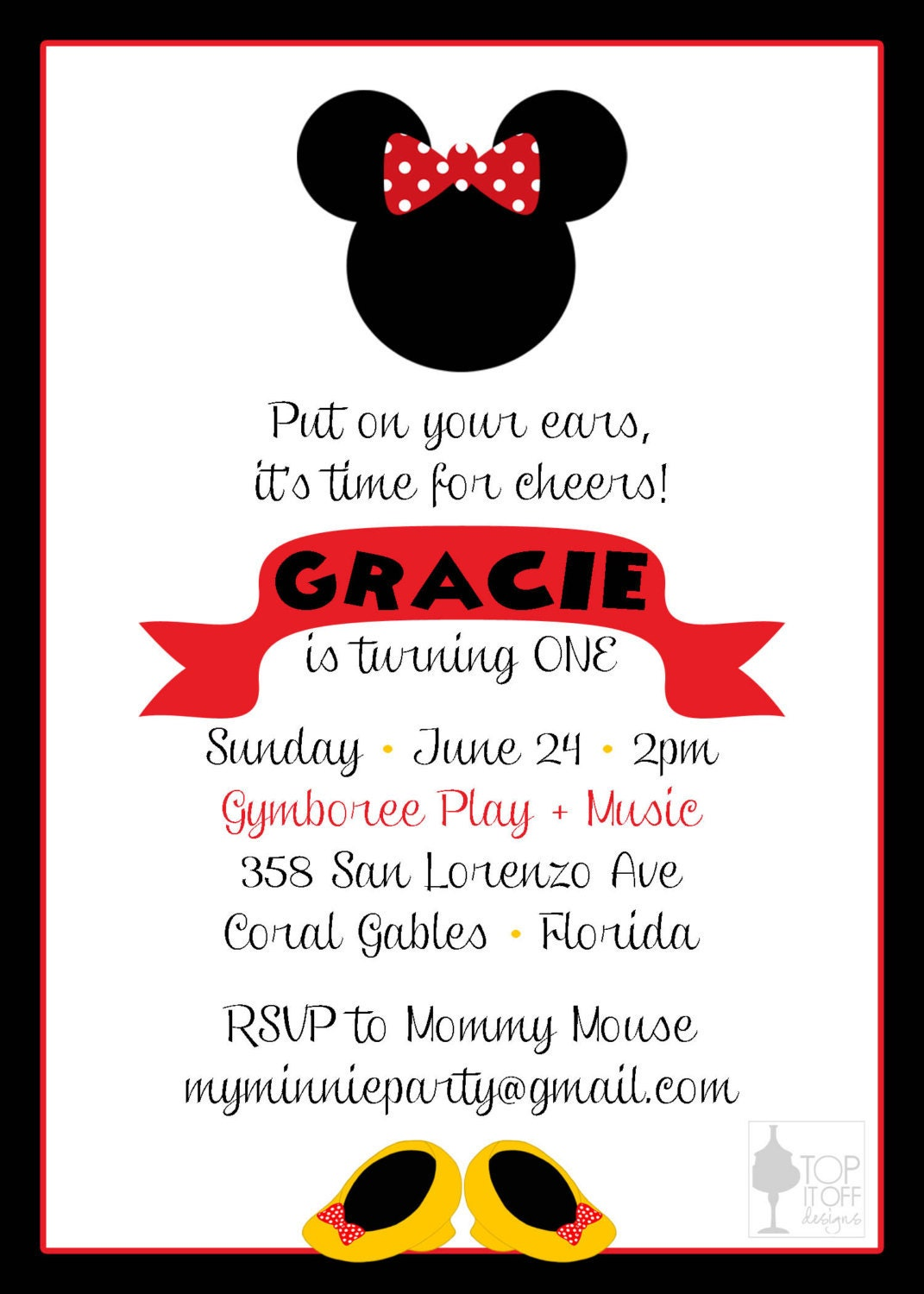 Minnie And Mickey Mouse Birthday Invitation By