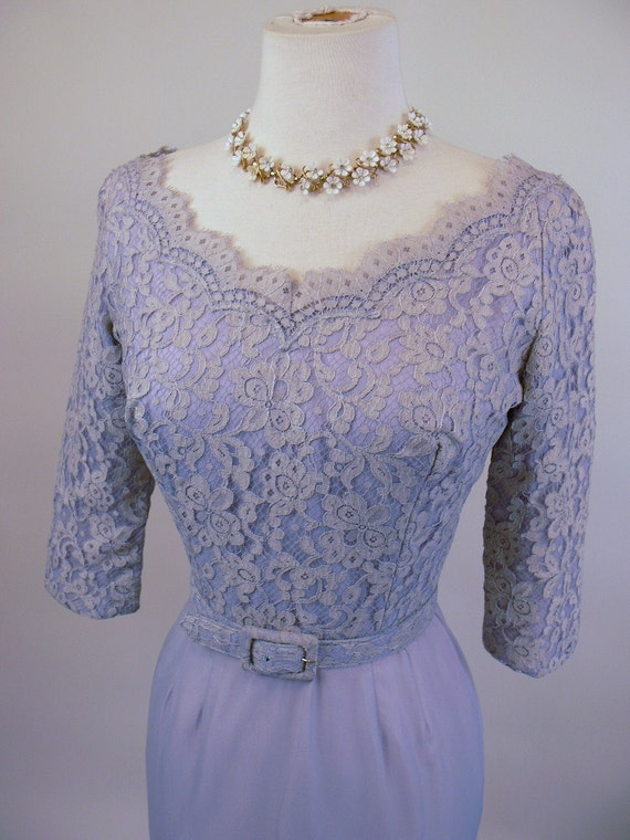 1950's Powder Blue Lace and Silk Wiggle Dress