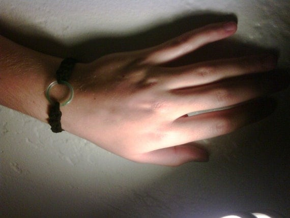 Black Double Coin Knot Bracelet with Green Agate Ring