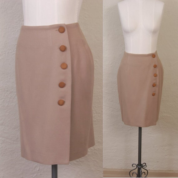 Vintage 1980's ann taylor wool skirt in camel