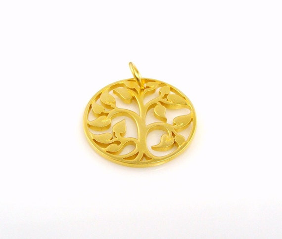 24K Gold Plated Bronze Tree of Life Pendant - FREE SHIPPING
