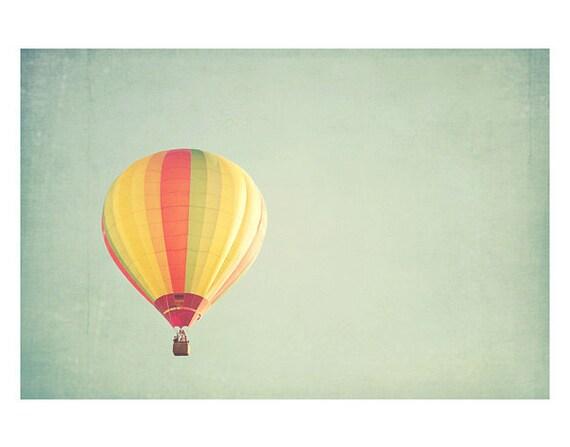 hot air balloon photograph - original fine art photography, nursery print, dream, floating, colorful, sky - 11x14