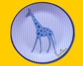 Wunderschöner Melaminteller mit Giraffe Gelb/blau - versandfuerumme-