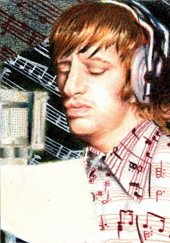 Original ACEO for the Community Music Institute - Day 16: I'll Sing You a Song (Ringo Starr)