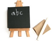 Miniature Blackboard & Easel with Chalk Stick, ABC, Gift for Teacher, Back to School