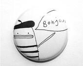 Pin Button Badge Set of Four - Oui, Bonjour, Ooh La La, Standing