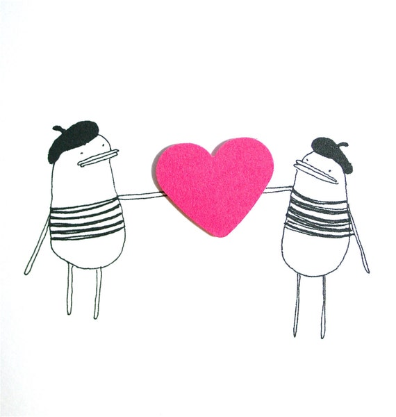 I Love You Card - Poosac French Twins with Pink Heart