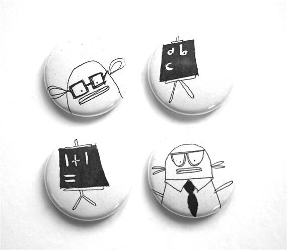 Perfect School Gift for Teacher - Spectacles, ABC Blackboard, Mathematic Sum Chalkboard, Geek Pin-button Badge Set