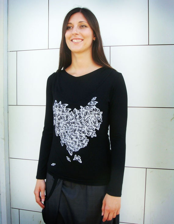 Butterfly Heart T-shirt Black and White
