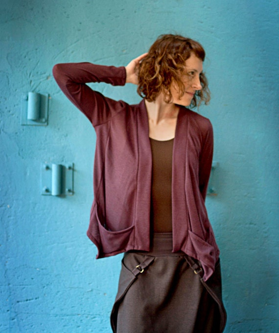 Wrap Lilac Cardigan Top with Lower front Pockets