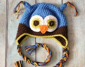 Blue Owl Hat, Boys Hat, Crochet Hat, boys hat, crochet
