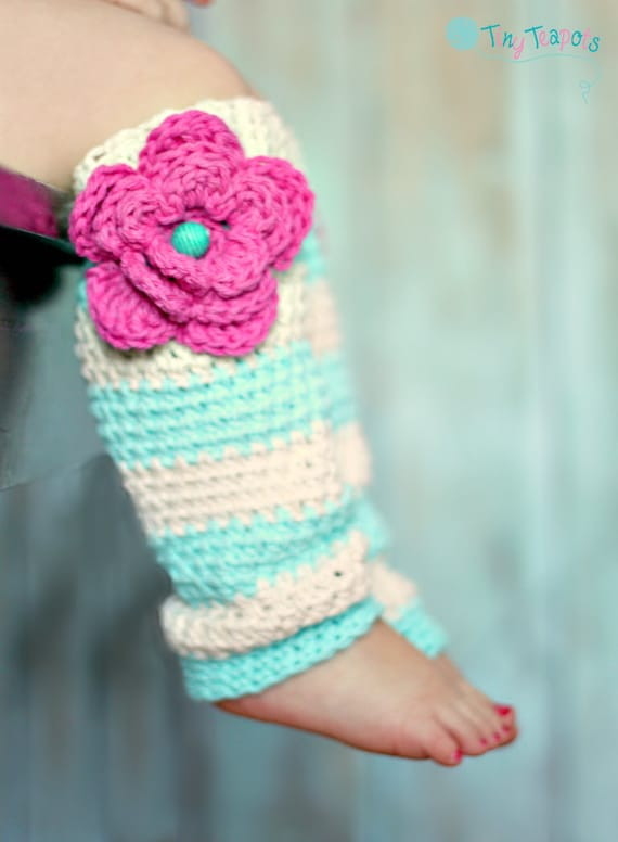 Items Similar To Girls Leg Warmers Crochet Leg Warmers Robins Egg Striped Baby Toddler On Etsy