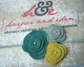FREE Shipping - Mini Poppy Trio Felt Flower Headband - Newborn to Adult sizes Available - Lots of Colors for you to choose from